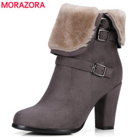 MORAZORA Large Size 34 43 Winter Shoes Fashion Punk Snow Boots Woman Flock Zip Solid Ankle