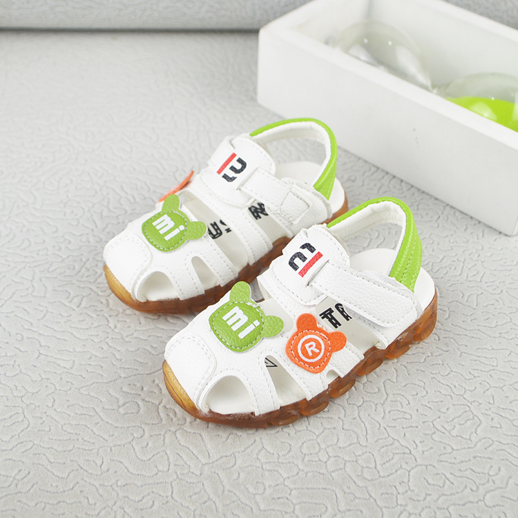 2018 LED Light Children Sandals Genuine Leather Boys Sandalen Kids Breathable Comfort Sandals