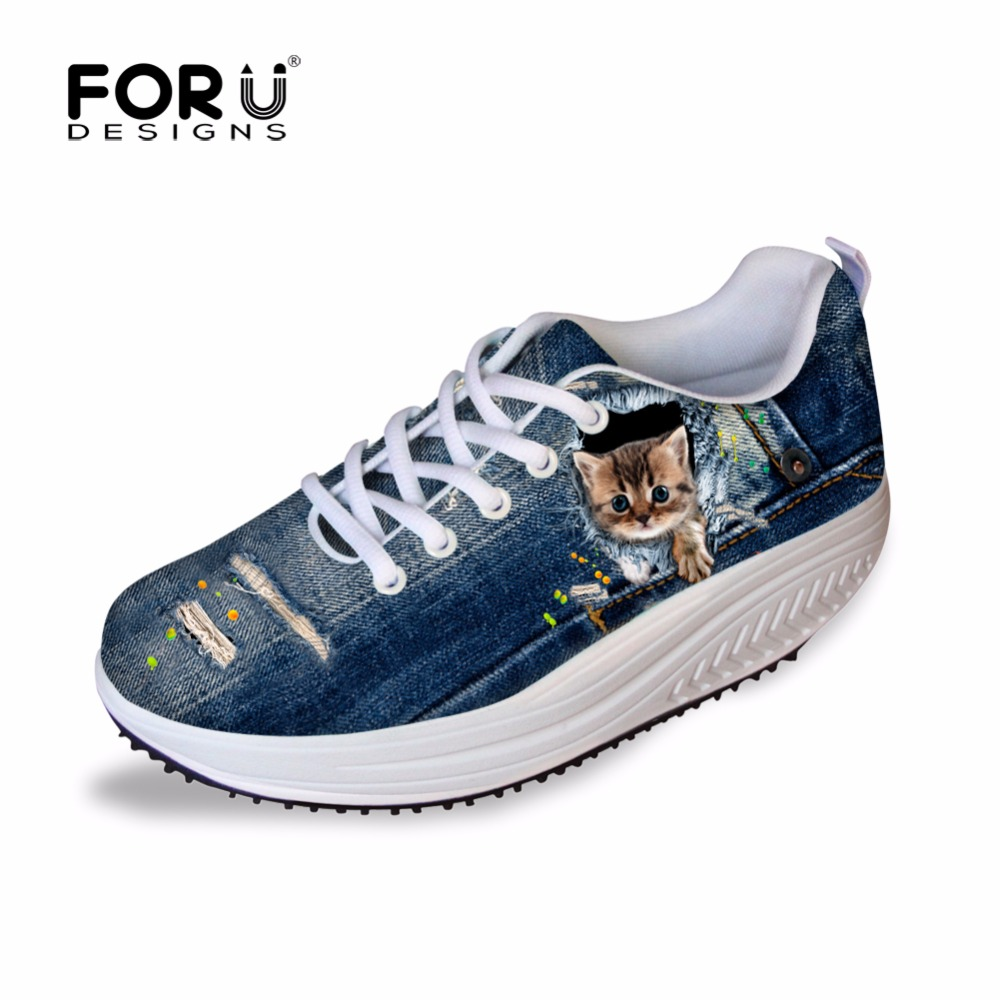 FORUDESIGNS Blue Denim Trykt Kvinde Casual Højde Stigende Sko Damer 3D Pet Cat Dog Pustende Lace Up Platform Swing Shoe
