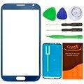 Коричневый/Синий Внешний Замена Стеклянный Объектив для Samsung Galaxy Note 2 N7100 N7105 Передняя Сенсорный Жк-Экран Объектив + Наклейка + Инструменты комплект