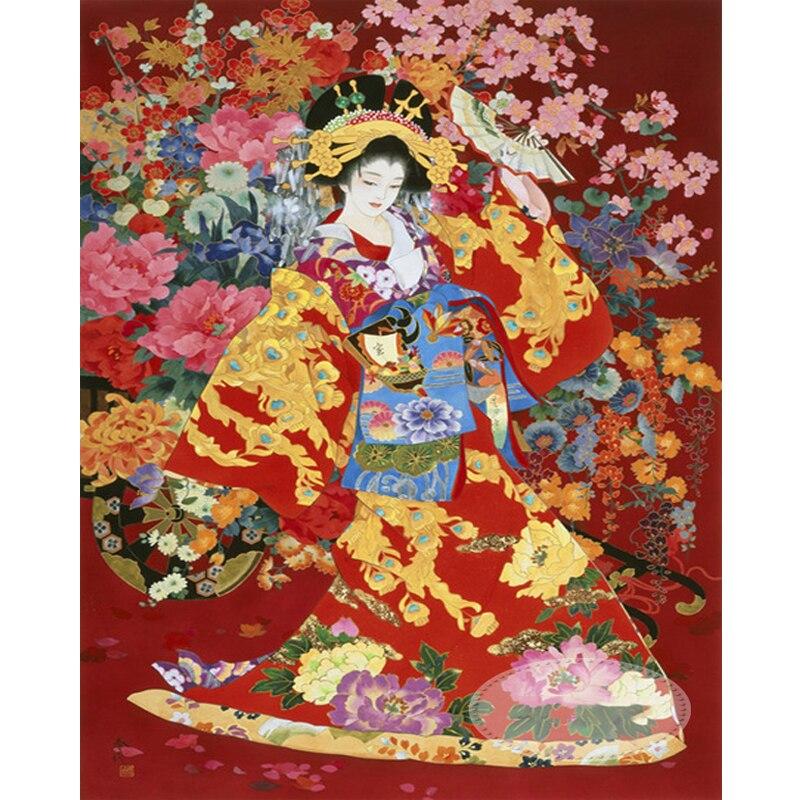 Japanese kimono woman diamond Embroidery diy painting mosaic diamant 3d cross stitch pictures H811