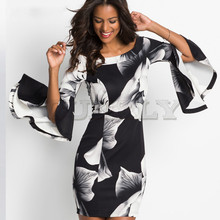 Party Dress Printed cotton Off The Shoulder Flare Sleeve Sexy Women Slit Ruffle Half Bardot Bodycon 1919