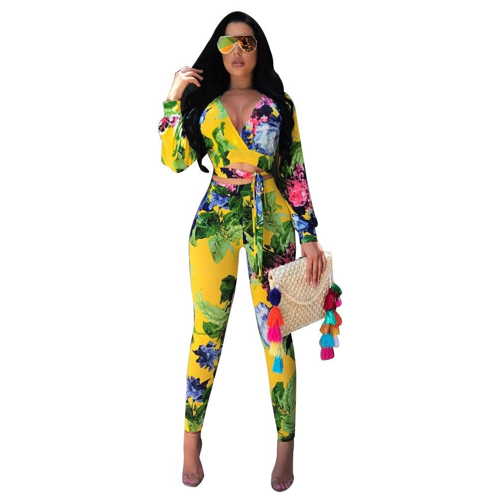 e8e954eba53 Sexy Two Piece Jumpsuit 2019 Autumn Deep V - Neck Long Sleeve Full Bodysuit  Floral Print