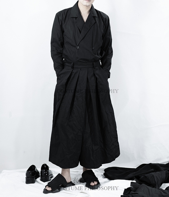 27-44! High quality plus-size pants  2018 Homemade summer new man yamamoto pleated cotton dress with dark black pleated skirt 1