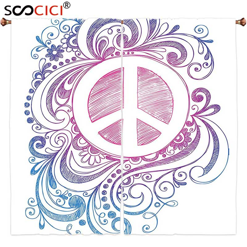 Window Curtains Treatments 2 Panels,Groovy Decorations Classic Hand Drawn Style Peace Sign And Swirls Freedom Change Hope Roll