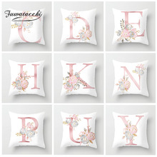 Fuwatacchi 26 Alphabet Cushion Cover Pink Flower Printed Pillow For Sofa Home Kids Room Car Decoration Pillowcase 2019