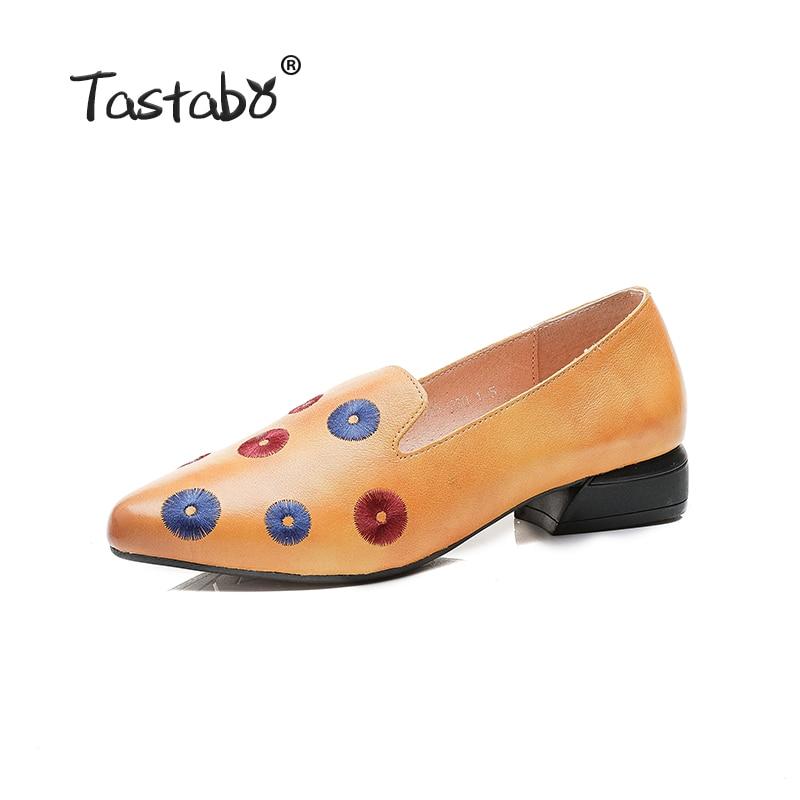 Tastabo prawdziwej skóry buty ręcznie robione buty damskie niskie obcasy obuwie damskie płaskie buty damskie Multicolor wzór w Damskie buty typu flats od Buty na  Grupa 2