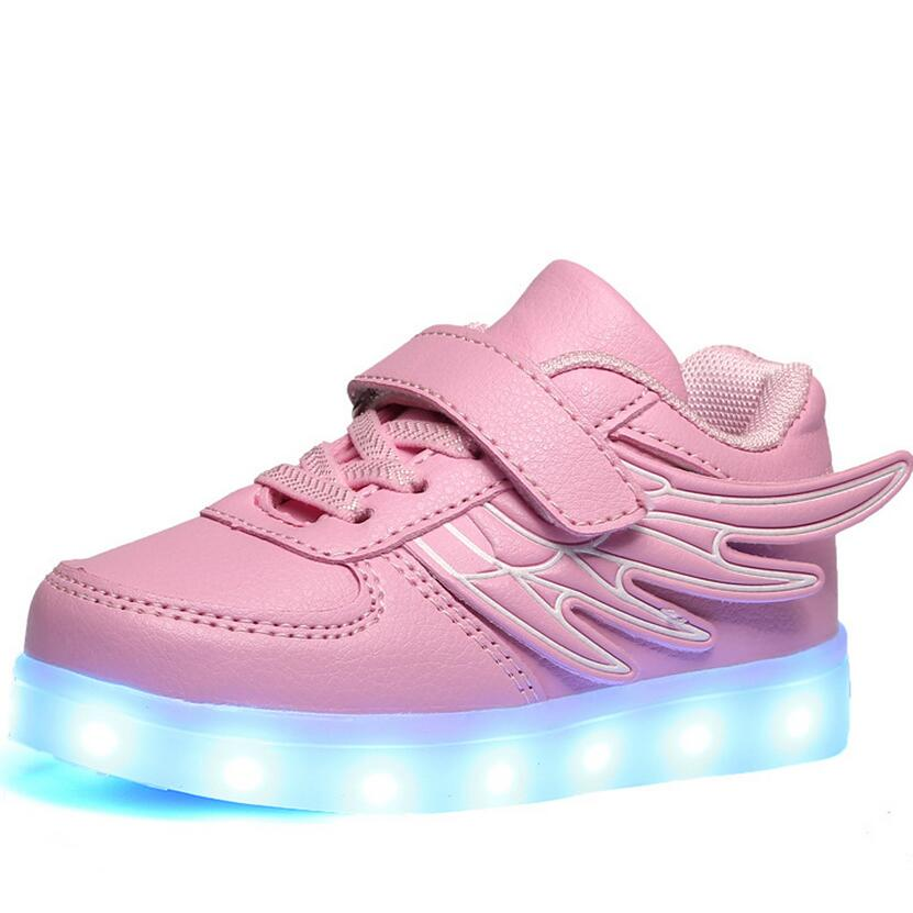 2017 spring new fashion USB charging children&#8217;s shoes <font><b>LED</b></font> lights <font><b>wings</b></font> shoes children&#8217;s casual shoes size 25-35