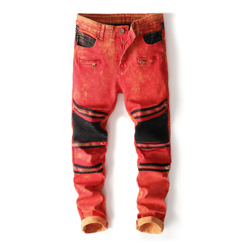 Newsosoo Fashion Mens Biker Jeans Pants Slim Fit Straight Pleated Motorcycle Denim Trousers With Multi Zippers Red