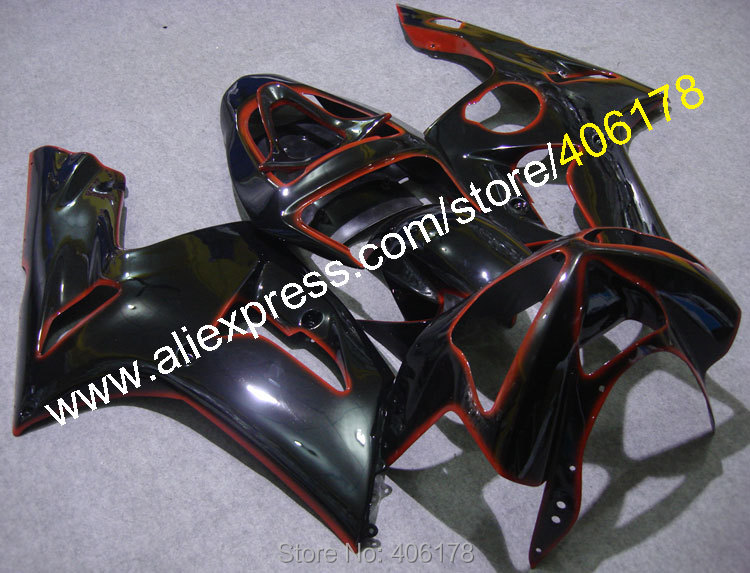 Cheap Bodywork Fairing For Ninja ZX6R 03 04 ZX 6R ZX-6R <font><b>636</b></font> <font><b>2003</b></font> 2004 Black ABS Body Kit (Injection molding) image