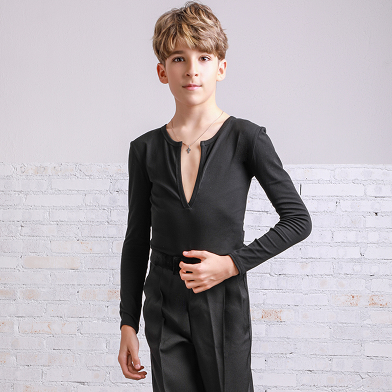 Boys Latin Dance Top Long Sleeve Cha Cha Samba Rumba Salsa Tango Practice Wear Kids Milk Fiber Ballroom Dancing Outfit DC2522