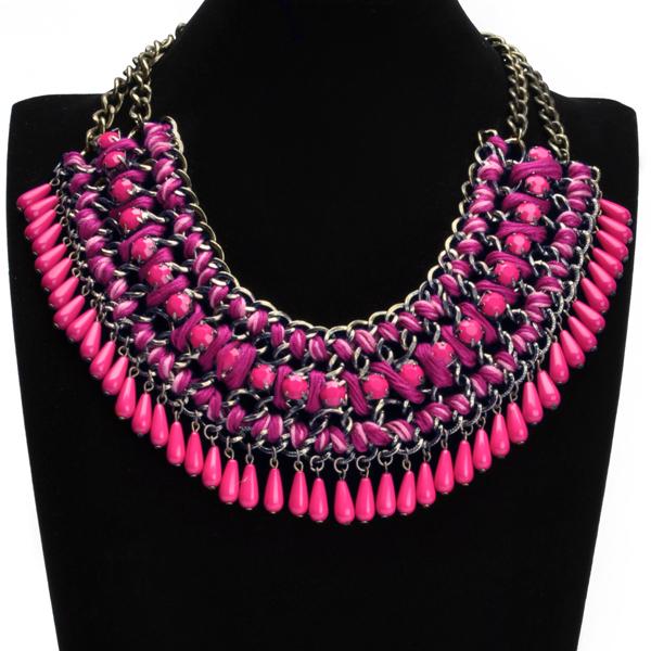 2014 ENVÍO LIBRE Nueva Llegada de La Manera Oval Beads Resinas Collar Gargantilla Collar Para Las Mujeres se Visten 4 Colores