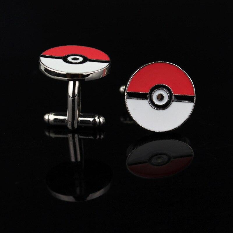 Cufflinks Silver Pokemon Shirts Gifts for Go-Pokeball Men