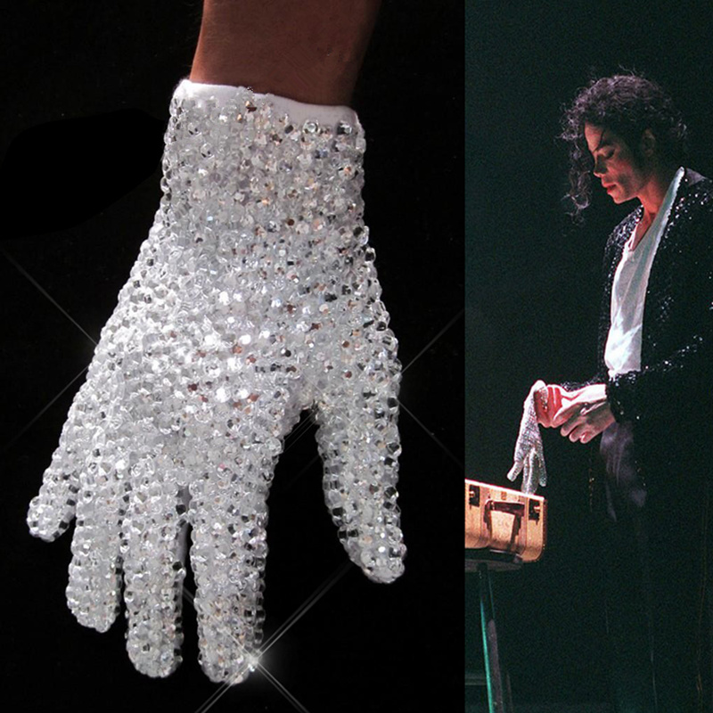 Rare MJ Michael Jackson À La Fois Côté Strass Argent Cristal À La Main Collection Gant Pour Billie Jean Preformance