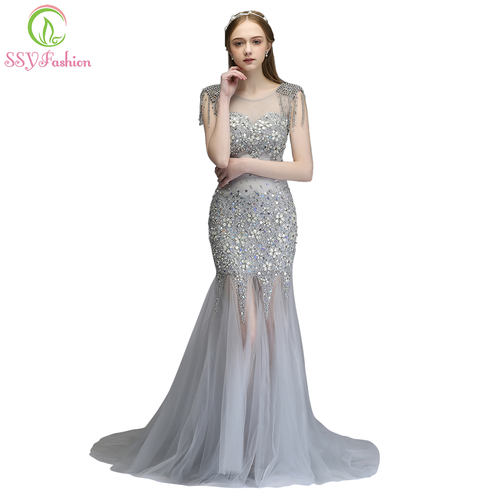 40d16cc50119 SSYFashion New High-end Mermaid Evening Dress Luxury Banquet Silver Tassel  Beading Sexy Fishtail Prom Party Gown Robe De Soiree