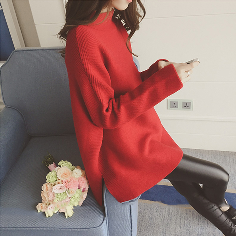 2019 New Women Sweater Jumper Section Solid Color Knitted Long Sleeve Fashion Casual  Pullover Tops Korean Female Sweater Winter
