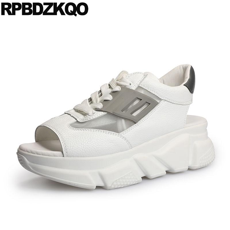 Luxury Flat White High Quality Harajuku Sandals Lace Up Peep Toe Slingback Flatform Sneakers Women Shoes 2018 Spring Platform lace up flatform satin shoes