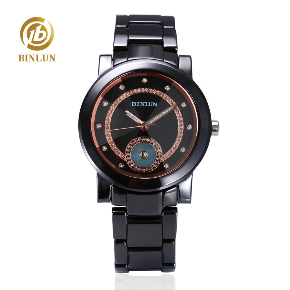 BINLUN Men Black Gold Ceramic Quartz Watch Luxury Rose Gold Diamond Double Ring Dial Sapphire Glass Men Quartz Wrist Clock Watch super speed v6 v0153 by check dial quartz wrist watch for men black yellow while 1 x lr626
