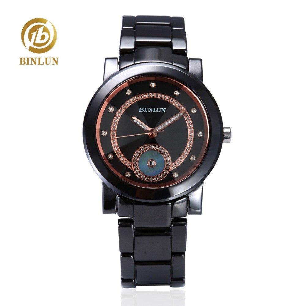 BINLUN hommes noir or montre à Quartz en céramique de luxe en or Rose diamant Double anneau cadran saphir verre hommes Quartz montre-bracelet