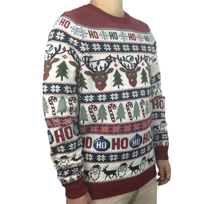 Funny Light Up Ugly Christmas Sweater for Men and Women Cute Reindeer Santa Patterned Xmas Pullover Jumper Plus Size S-2XL 4