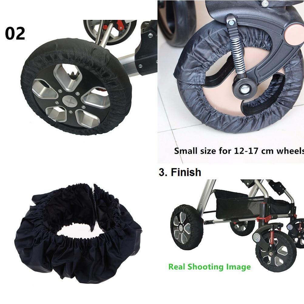 2Pcs Baby Kids Stroller Pram Anti Dirty From Floor Wheel Black Cover Accessory..