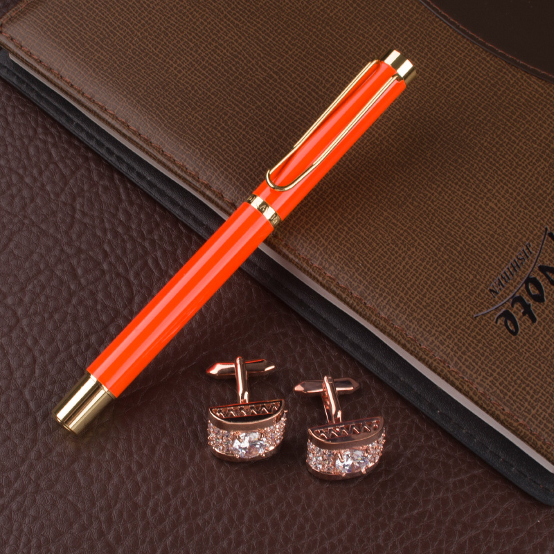 luxury Roller Ball Pen Full metal Matte Orange Rollerball Pen Golden Clip 0.7mm Nib Business office supplies +Cufflinks Gift Set dikawen 891 gray gold dragon clip 0 7mm nib office stationery metal roller ball pen pencil box cufflinks for mens luxury
