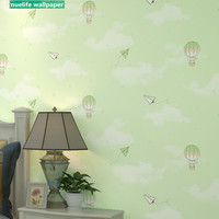 Cartoon hot air balloon pattern non woven wallpaper pink girl kids room kindergarten bedroom bedside background wall paper