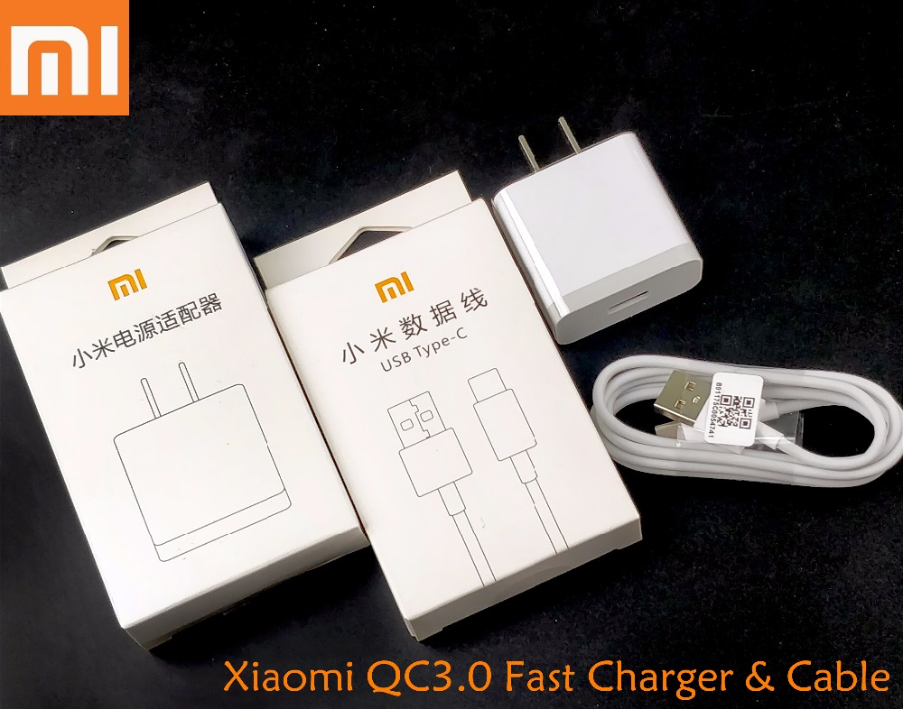 Original Xiaomi mi MAX 2 Quick Charger,Usb Wall 12V 1.5A QC 3.0 Fast Charge adapter MDY-08-ES & Type-C cable For mi 6 5 5s Mix