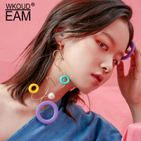 WKOUD EAM 2019 New Woman Hit Color Personality Irregular Long Earrings Fashion Female Jewelry Accessories Party Gift 6#JY683