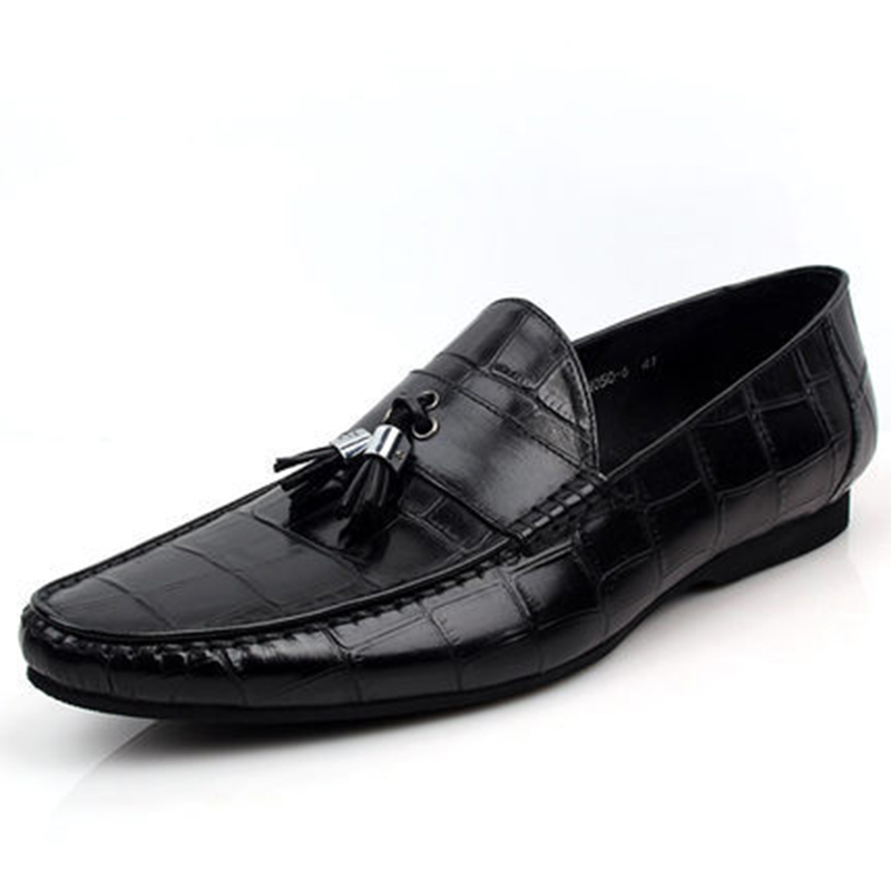 ФОТО 2017 New Men's Genuine Leather Solid Lace-Up Crocodile Comfortable and Breathable Casual Loafers Driving Business Flat Shoes