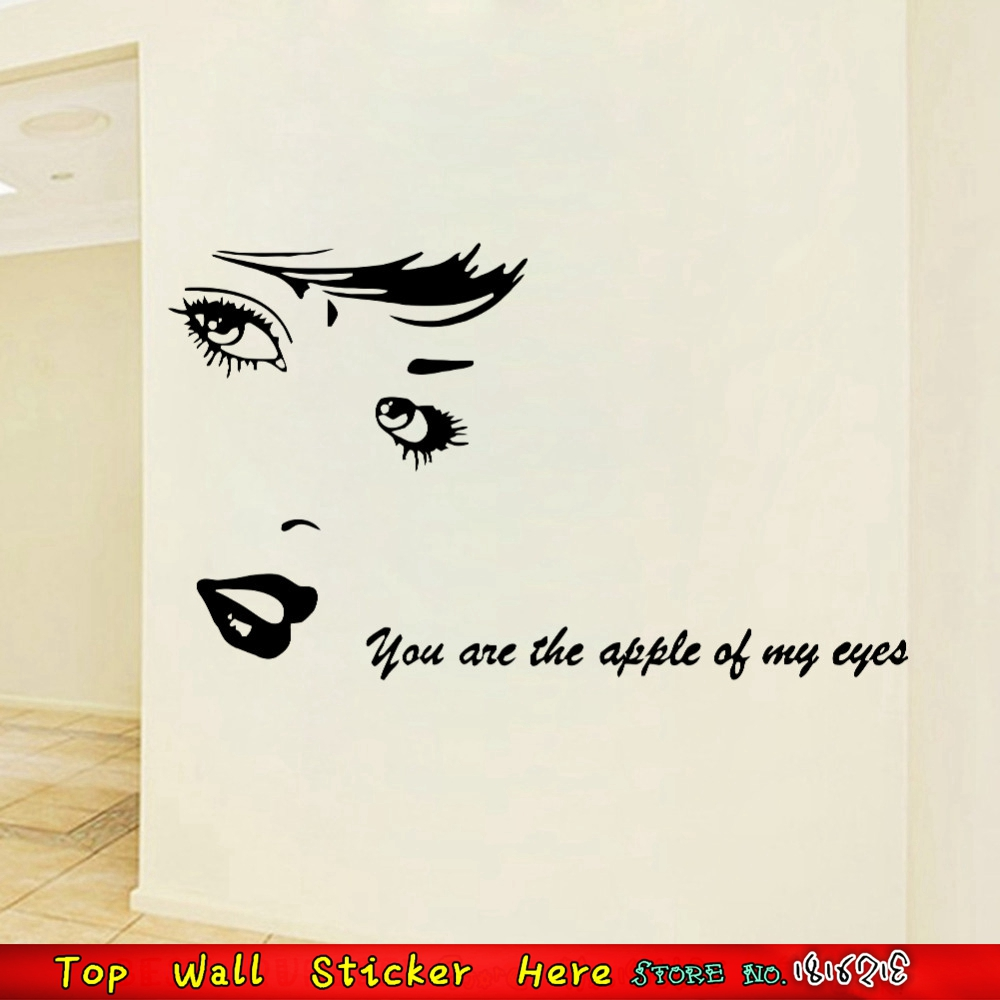 Love Quotes For Women Sexy Women Audrey Hepburn Wall Stickers ''you Are The Apple Of My