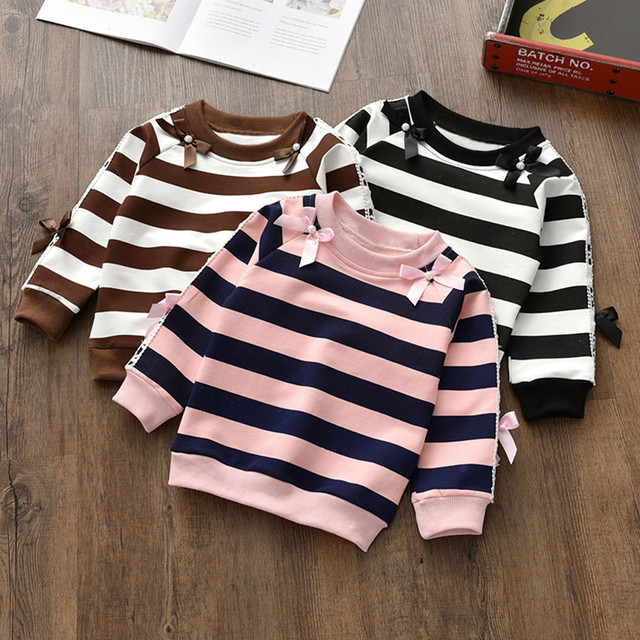 Toddler Baby Girls Sweatshirt Infant Kids Long Sleeve Butterfly Knot Striped Print Hoodie Pullover Sweatshirts Tops Clothes 1030