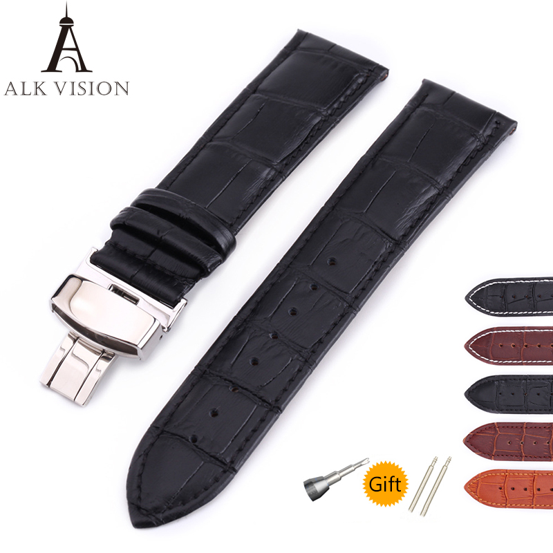 ALK Leather Watch Band Bracelet Strap butterfly deployant Clasp buckle Watchband accessories 14 16mm 18mm 19mm 20mm 21mm 22mm 24 цена