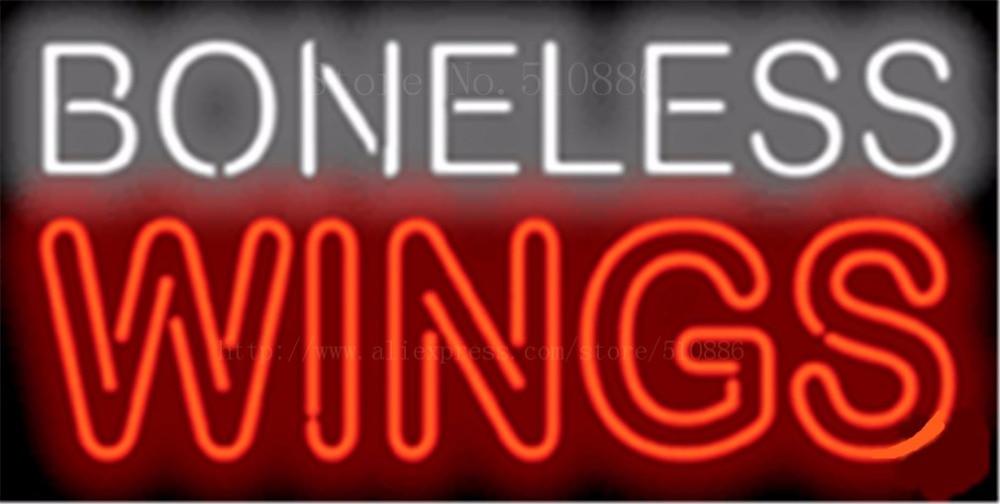 Boneless Wings NEON SIGN REAL GLASS BEER BAR PUB LIGHT SIGNS store display Restaurant shop food diet Advertising Lights 17*14