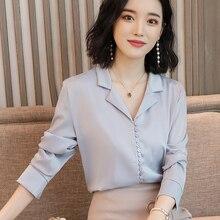 fashion Spring and Autumn 2019 New V-collar Long-sleeved office pink Silk surface chiffon silk women tops blouse shirt 681F3