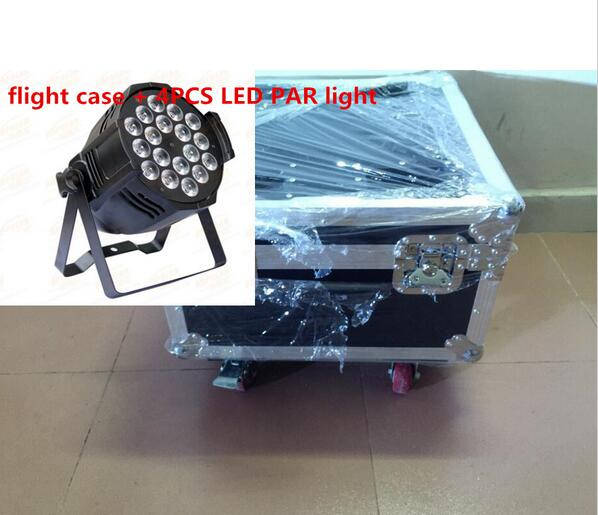 4pcs 18x12W LED Par Lights with 1 flight case Led Par Light RGBW 4in1 LED Par LED Luxury DMX 6/8 Channels Led Flat Par Lights free shipping dip16 max3232 max3232epe 20pcs in stock