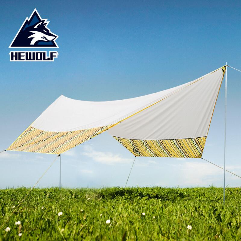 Hewolf Ultralight Sun Shelter Outdoor Beach Tent Pergola Awning Canopy Tarp 5 8 Person Large Camping Sunshelter Waterproof Tarp octagonal outdoor camping tent large space family tent 5 8 persons waterproof awning shelter beach party tent double door tents