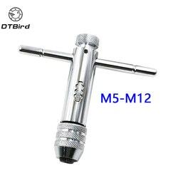 Regulowany 3 8mm uchwyt w kształcie litery T z grzechotką klucz M3 M8 M5 M12 maszyna śruba gwint metryczny wtyk mechanik narzędzie do kranu i matrycy w Tap & Die od Narzędzia na