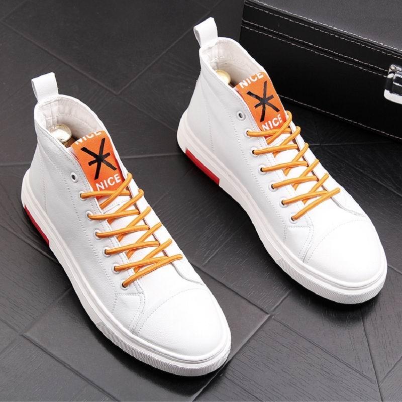 ERRFC zima nowy nabytek męskie białe buty na co dzień wysokiej góry sznurowane buty kowbojskie człowiek czerwony Hip Hop rozrywka trendów buty 38  43 w Buty motocyklowe od Buty na  Grupa 1