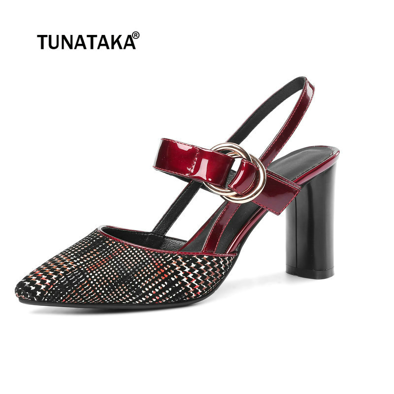 Fashion Genuine Leather Chunky High Heel Sandals Party Casual Summer Woman Shoes Black Wine Red коляска esspero summer line wine red sl010a 108068266