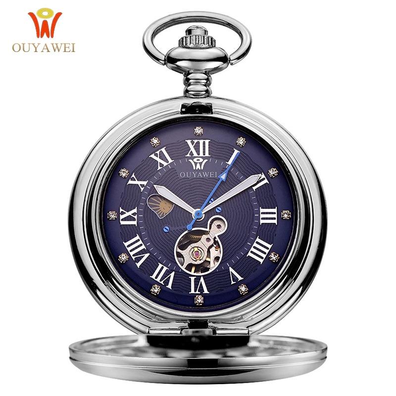 OUYAWEI Luxury Brand Mechanical Pocket Watch Men Full Steel Case Pocket Fob Watch Analog Silver White Dial Vintage Male Clock