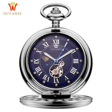 лучшая цена OUYAWEI Luxury Brand Mechanical Pocket Watch Men Full Steel Case Pocket Fob Watch Analog Silver White Dial Vintage Male Clock
