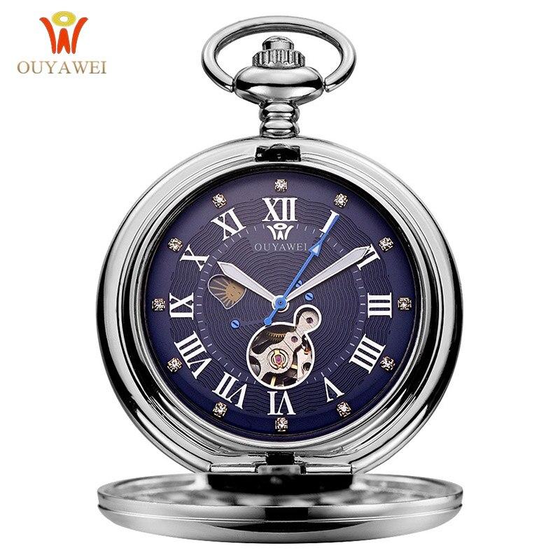 OUYAWEI marque de luxe montre de poche mécanique hommes boîtier en acier complet montre gousset de poche analogique argent blanc cadran Vintage horloge mâle