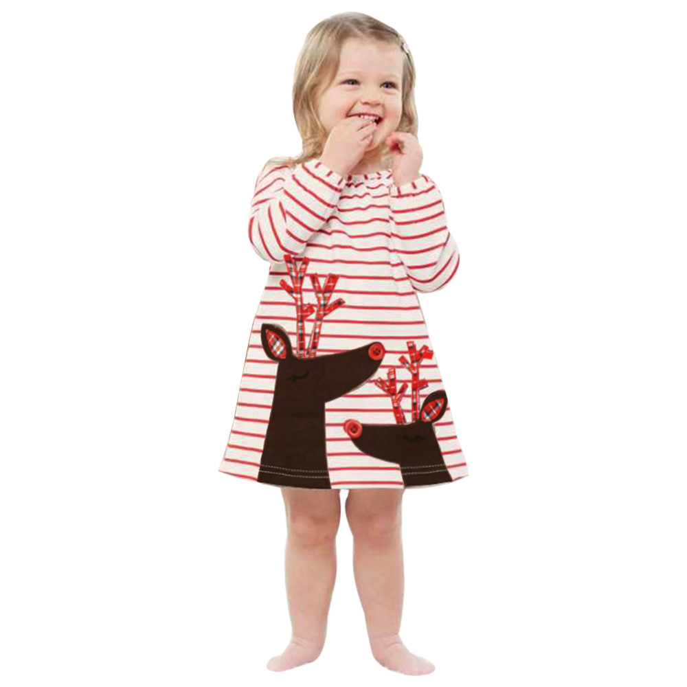 2018 Toddler Kids Baby Girls Deer Striped Princess Dress Christmas Outfits Clothes Summer Dress #YL5 pocket front striped night dress