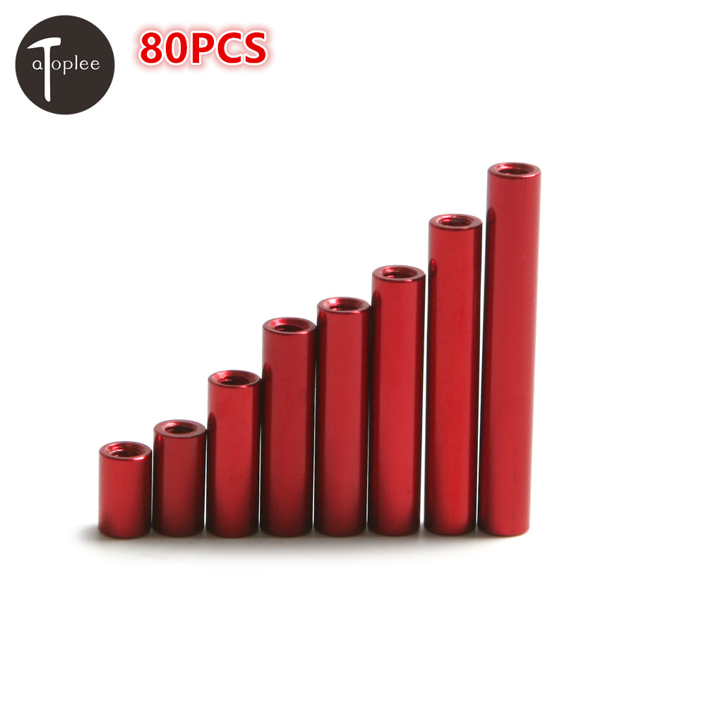 80PCS Red CNC M3*8mm-35mm Round Aluminum Alloy Standoff Spacer Stud Straight hollow cylinder Fastener Column 20pcs m3 copper standoff spacer stud male to female m3 4 6mm hexagonal stud length 4 5 6 7 8 9 10 11 12mm