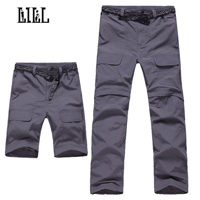 LILL | Removable Quick Dry Men's Pants 2017 Summer Breathable Travel Trousers Men Joggers Army Khaki Mens Casual Pants,UA048