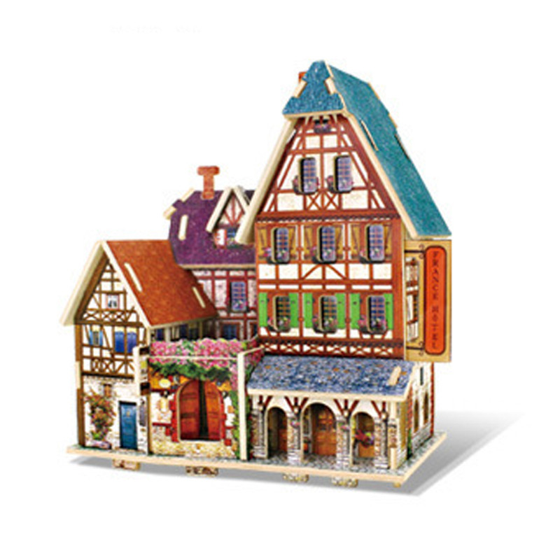 Doll House 3D French Romance Puzzle Wooden DIY Dollhouse for Children Toys World Style Building Card Blocks Girls Wooden Gift image