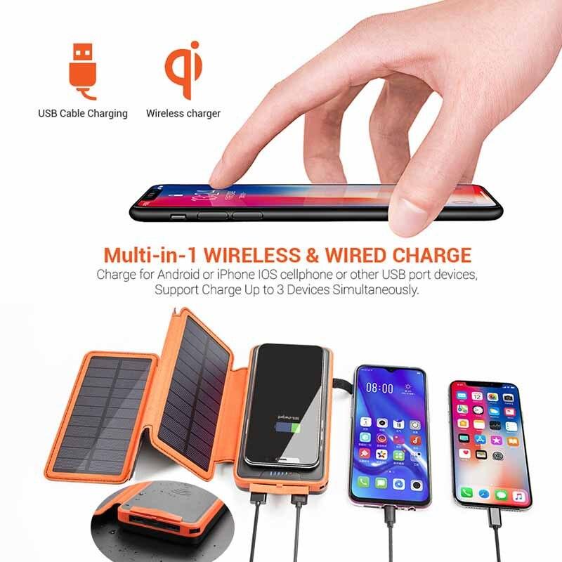 QI chargeur sans fil batterie externe 20000 mAh pour Xiao mi 9 Charge rapide 2A PowerBank LED chargeur Portable solaire batterie externe