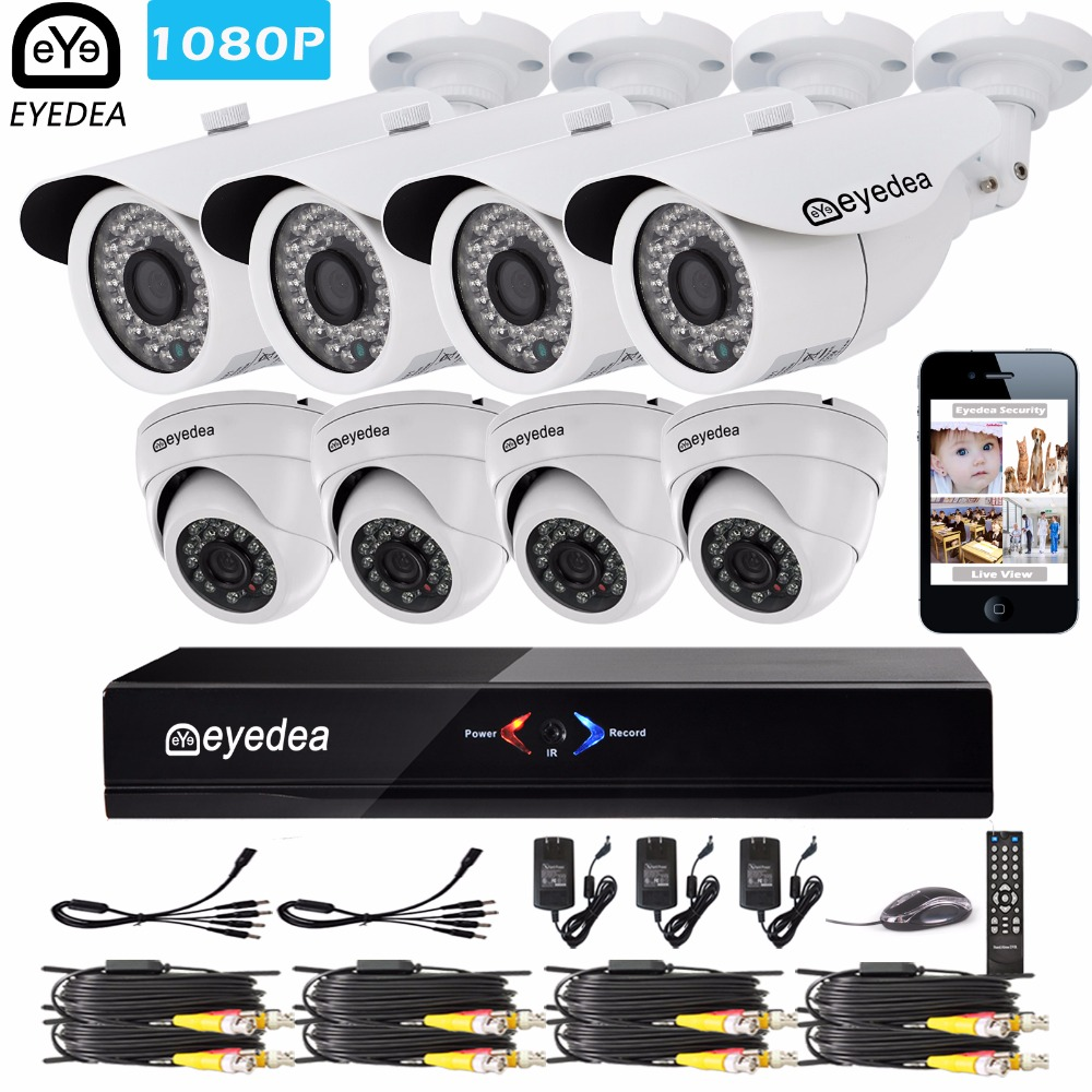 Eyedea 8CH Remote View Phone APP HDMI DVR Bullet Dome 1080P 2.0MP White Waterproof Night Vision Home CCTV Security Camera SystemEyedea 8CH Remote View Phone APP HDMI DVR Bullet Dome 1080P 2.0MP White Waterproof Night Vision Home CCTV Security Camera System