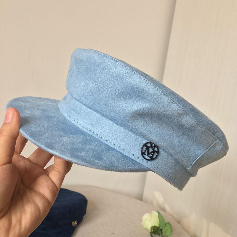 Die Neue M Faux Pelz Navy Kappe Faux Wildleder Flachen Hut Kappe
